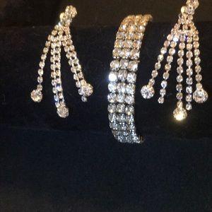 Jewelry - crystal bracelet & chandelier tassel earring set